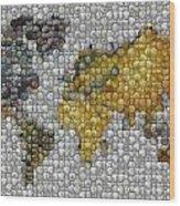 World Map Coin Mosaic Wood Print