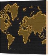 World Map Gold Wood Print