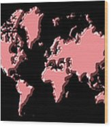 World Map Pink Wood Print