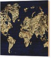 World Map Rock Wood Print