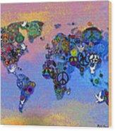 World Peace Tye Dye Wood Print