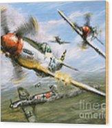 World War 2 P 51d Thisizit Checkertails Wood Print