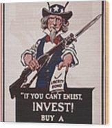 World War I, Poster Showing Uncle Sam Wood Print