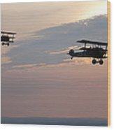 World War I Triplanes In Flight Wood Print