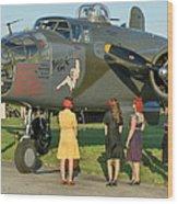 World War II B-25 Bomber Briefing Time Wood Print