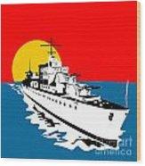World War Two Battleship Warship Cruiser Retro Wood Print