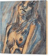 Worried Young Nude Female Teen Leaning And Filled With Angst In Orange And Blue Watercolor Acrylics Wood Print