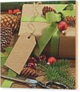 Wrapping Gifts For The Holidays Wood Print by Sandra Cunningham
