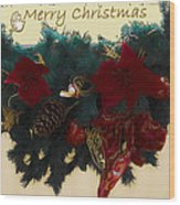 Wreath Garland Greeting Wood Print