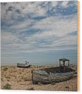 Wrecked Boats Dungeness Wood Print