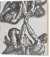 Wrestling Moves, 16th Century Artwork Wood Print