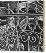 Wrought Iron Gate And Pots Black And White Wood Print
