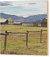 Wyoing Barns Wood Print