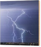 X Lightning Bolt In The Sky Wood Print