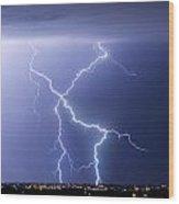 X Lightning Bolt In The Sky Wood Print