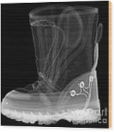 X-ray Of A Childs Light-up Boot Wood Print