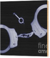 X-ray Of Handcuffs And Keys Wood Print