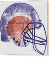 X-ray Of Head In Football Helmet Wood Print