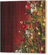 Xmas Tree On Red Wood Print