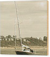 Yacht Entering Christchurch Harbour Wood Print