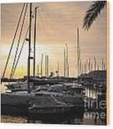 Yachts At Sunset Wood Print by Carlos Caetano