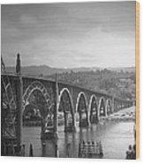Yaquina Bay Bridge Oregon B And W Wood Print