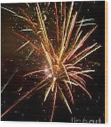 Yellow And Red Fireworks Wood Print