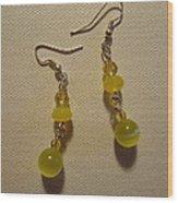 Yellow Ball Drop Earrings Wood Print