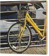 Yellow Bicycle Wood Print