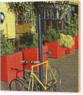 Yellow Bicycle Vancouver Canada Wood Print