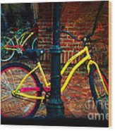 Yellow Bike Wood Print