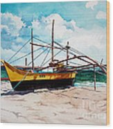 Yellow Boat Docking On The Shore Wood Print
