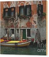 Yellow Boat Venice Italy Wood Print