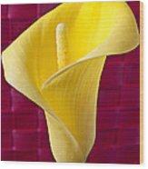 Yellow Calla Lily Red Mat Wood Print