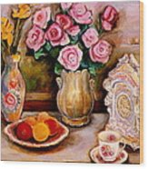 Yellow Daffodils Red Roses  Peaches And Oranges With Tea Cup  Wood Print