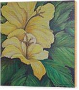 Yellow Diamonds Wood Print by Janna Columbus