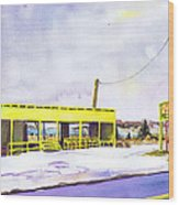 Yellow Farm Stand Winter Orient Harbor Ny Wood Print by Susan Herbst