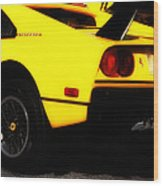Yellow Ferrari Wood Print
