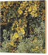 Yellow Flowers On Tree Wood Print