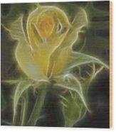 Yellow Fractalius Rose Wood Print