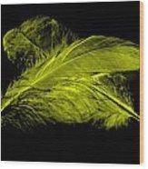 Yellow Ghost On Black Wood Print