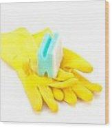 Yellow Gloves Wood Print