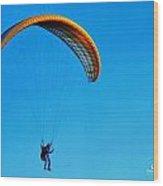 Yellow Hang Glider Wood Print