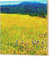 Yellow Hills . Long Cut Wood Print