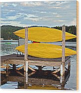 Yellow Kayaks Wood Print