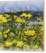 Yellow Landscape Wood Print