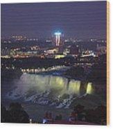 Yellow Light Over The Niagara Falls  - Canada Wood Print