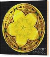Yellow Lily Kaleidoscope Under Glass Wood Print