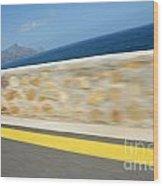 Yellow Line On A Coastal Road By Sea Wood Print by Sami Sarkis