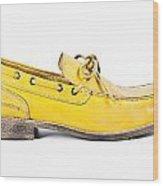 yellow Mens shoe Wood Print